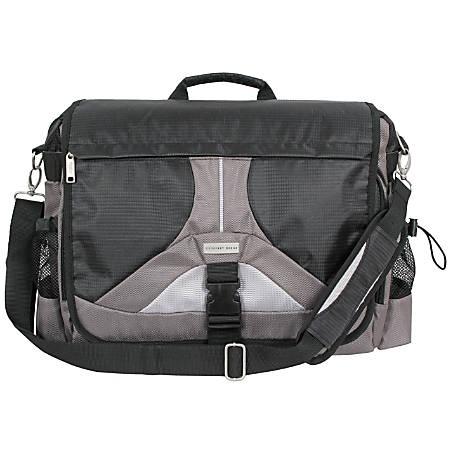 """Overland Geoffrey Beene Messenger Bag With 18"""" Laptop Pocket, Black"""