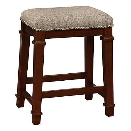 Linon Home Décor Products Marshall Backless Counter Stool, Walnut/Brown Tweed