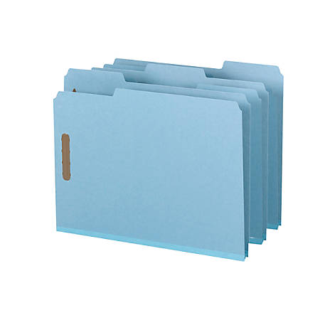 """Smead® Pressboard Fastener Folders, 1"""" Expansion, Letter Size, 100% Recycled, Blue, Pack Of 25"""