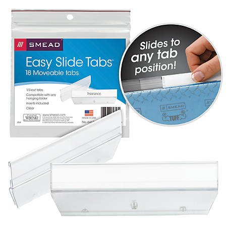 """Smead® Easy Slide™ Tabs, 3 1/2"""" x 1/2"""", Clear, Pack Of 18"""