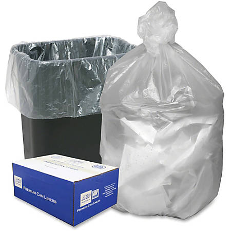 """Webster Translucent Waste Can Liners - 16 gal - 24"""" Width x 32"""" Length x 0.24 mil (6 Micron) Thickness - High Density - Natural - Resin - 1000/Carton - Can"""