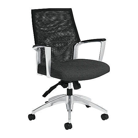 "Global® Accord Medium-Back Knee-Tilter Fabric Adjustable Chair, 27 1/2""H x 26""W x 24""D, Granite"