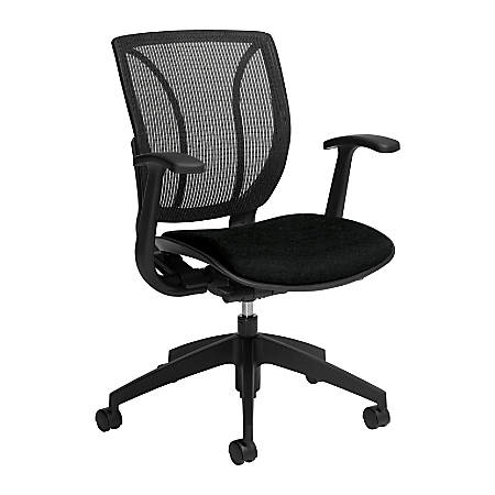 "Global® Roma Fabric Mid-Back Task Chair, 38""H x 25 1/2""W x 23 1/2""D, Black"
