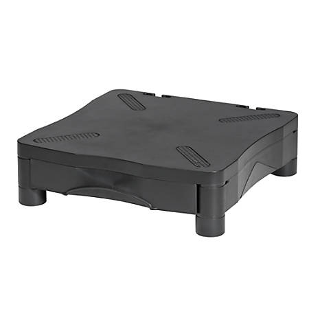 """Kelly Monitor/Printer Stand With Drawer, 13 1/3""""H x 13 1/2""""W x 4""""D, Black"""
