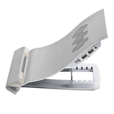KellyREST™ Deluxe Aluminum Notebook Riser With Cooling Fan, Silver