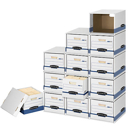 """Bankers Box® File/Cube™ Storage Box Shells, Letter/Legal, 15"""" x 12"""" x 10"""", 60% Recycled, White/Blue, Pack Of 6"""