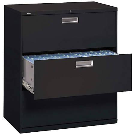 "HON® Brigade® 600 Series Lateral File, 3 Drawers, 40 7/8""H x 42""W x 19 1/4""D, Black"