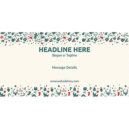 Custom Horizontal Banner, Green Christmas Elements