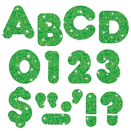 """TREND Ready Letters®, Glitter, 3"""", Green Sparkle, Pre-K - Grade 12, Pack Of 124"""