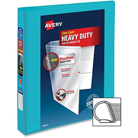 "Avery Durable View Binders with Slant Rings - 1"" Binder Capacity - 220 Sheet Capacity - Slant D-Ring Fastener(s) - 2 Internal Pocket(s) - Polyvinyl Chloride (PVC) - Aqua - 1 Each"