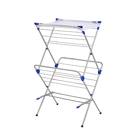 "Honey-Can-Do 2-Tier Mesh-Top Drying Rack, 41 1/2""H x 17""W x 23 1/2"", Silver/Blue"