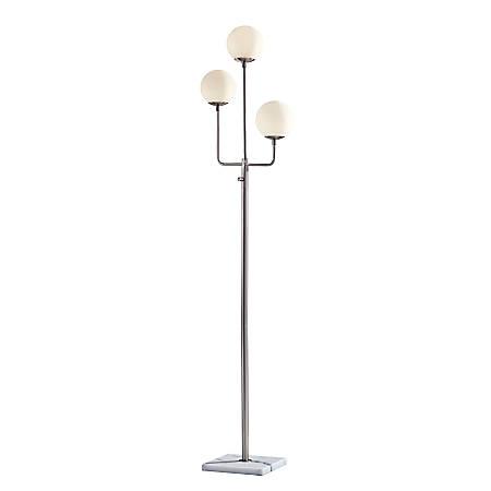 """Adesso® Asbury LED Floor Lamp, 67""""H, White Shade/Brushed Steel Base"""