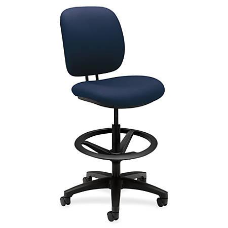 "HON ComforTask Stool, Navy Fabric - Polymer Navy, Olefin Seat - Polymer Navy, Olefin Back - 5-star Base - 20"" Seat Width x 18"" Seat Depth - 26.8"" Width x 30"" Depth x 49.8"" Height"