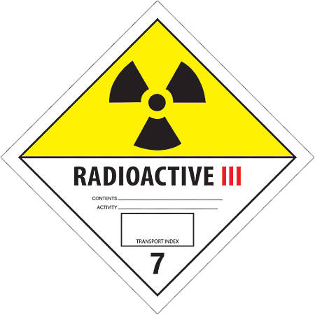 """Tape Logic® Preprinted Shipping Labels, DL5243, Radioactive III, Square, 4"""" x 4"""", Black/White/Yellow, Roll Of 500"""