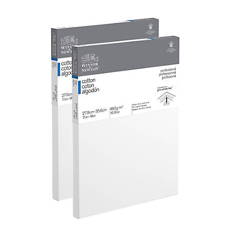 "Winsor & Newton Professional Cotton-Stretched Traditional Canvases, 14"" x 11"", White, Pack Of 2"