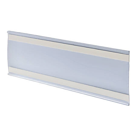 "Azar Displays PVC Horizontal Adhesive-Back Nameplates, 4""H x 11""W x 3/8""D, Clear, Pack Of 10 Nameplates"