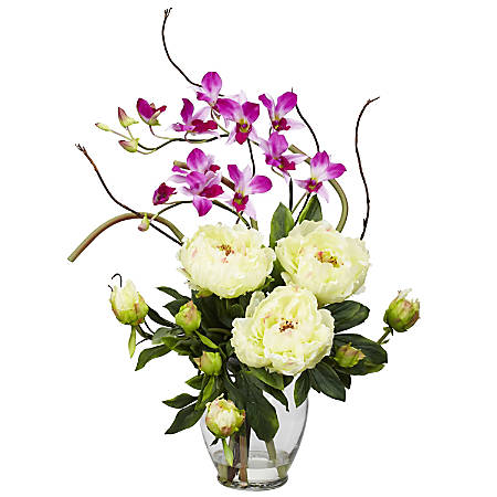 """Nearly Natural 21 1/2""""H Silk Peony & Orchid Arrangement With Vase"""