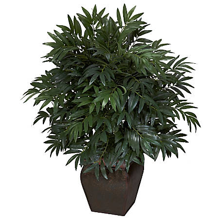 """Nearly Natural 35""""H Silk Double Bamboo Palm Tree With Planter"""
