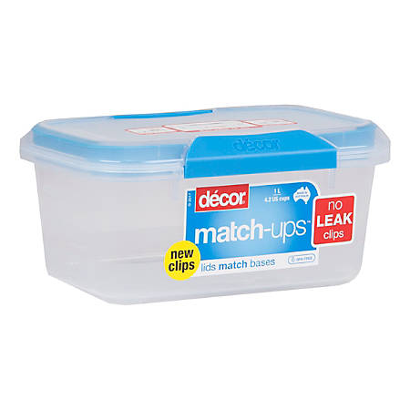 Décor Match-ups Food Storage Container, 1 Liter, Blue