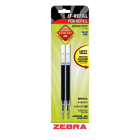 Zebra® JK Gel Pen Refills, 0.7 mm, Blue, Pack Of 2