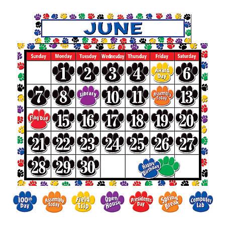 "Teacher Created Resources Colorful Paw Prints Calendar Set, 24"" x 18"", Multicolor, Pre-K - Grade 5"