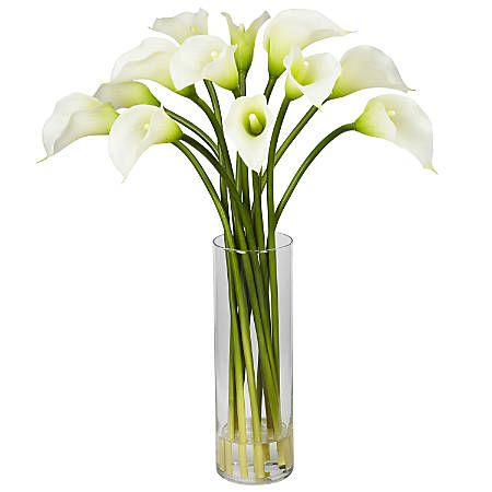 "Nearly Natural 20""H Silk Mi Calla Lily Flower Arrangement With Vase"