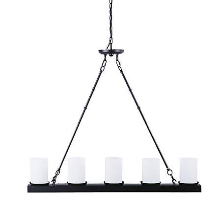 "Southern Enterprises Parmely 5-Light Metal Pendant Lamp, 8""H, Frosted White Shades/Matte Black Base"