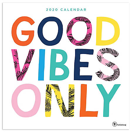 """TF Publishing Monthly Wall Calendar, 12"""" x 12"""", Good Vibes, January To December 2020"""