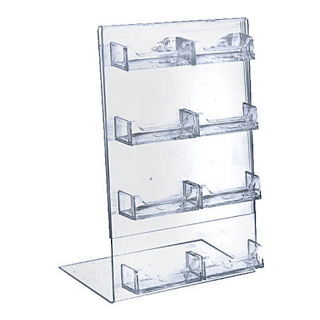 """Azar Displays L-Shaped 8-Pocket Business/Gift Card Holders, 11""""H x 8-1/2""""W x 3""""D, Clear, Pack Of 2 Holders"""