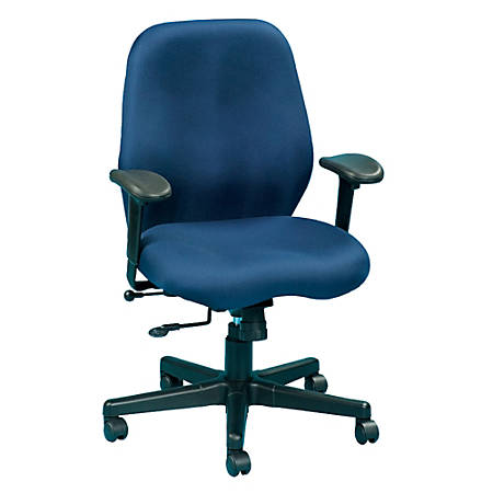 "Eurotech Multifunction Task Chair, 40""H x 27 1/2""W x 24""D, Black Frame, Navy Fabric"