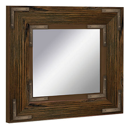 "PTM Images Framed Mirror, Bronze Accent, 20""H x 20""W, Natural Black"