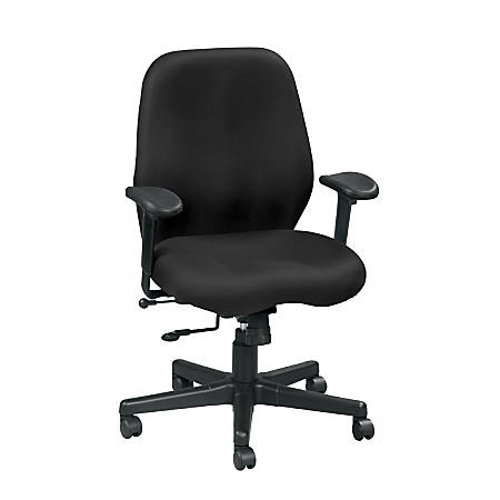 "Eurotech Multifunction Task Chair, 40""H x 27 1/2""W x 24""D, Black Frame, Black Fabric"