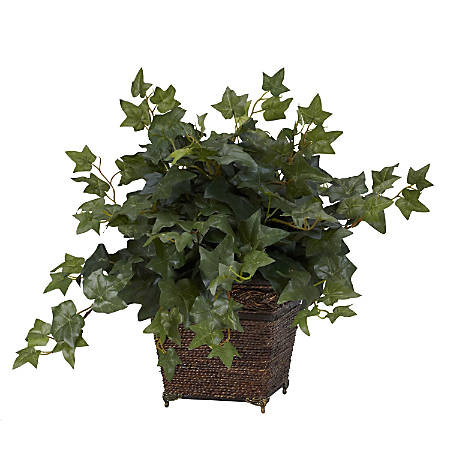 "Nearly Natural 17""H Silk Puff Ivy With Coiled Rope Planter"