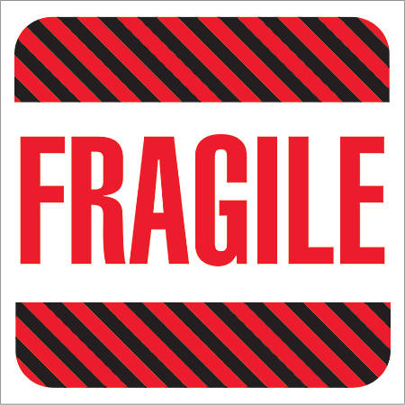 """Tape Logic® Preprinted Shipping Labels, DL1069, Fragile, Square, 4"""" x 4"""", Red/White/Black, Roll Of 500"""