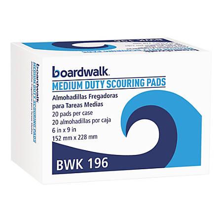 """Boardwalk® Medium-Duty Scour Pads, 6"""" x 9"""", Green, Pack Of 20 Pads"""
