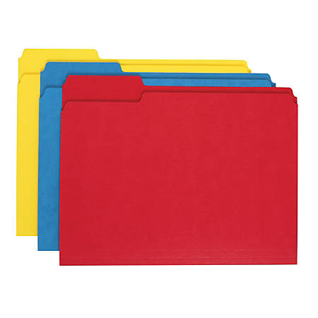 "Office Depot® Brand Heavy-Duty Top-Tab File Folders, 3/4"" Expansion, 8 1/2"" x 11"", Letter Size, Assorted, Pack Of 18"