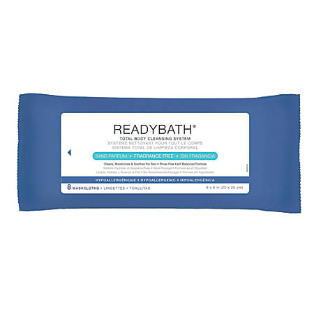 """ReadyBath Total Body Cleansing Standard-Weight Washcloths, Scented, 8""""x 8"""", White, 8 Washcloths Per Pack, Case Of 30 Packs"""
