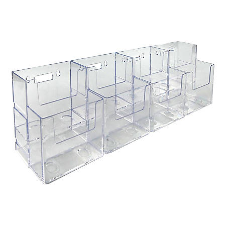 """Azar Displays 2-Tier 8-Pocket Trifold Brochure Counter Displays, 7""""H x 18-7/8""""W x 3-3/4""""D, Clear, Pack Of 2 Displays"""