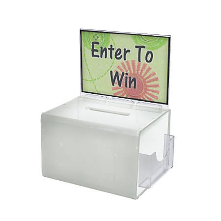 "Azar Displays Plastic Suggestion Box, With Lock, Extra-Large, 8 1/4""H x 11""W x 8 1/4""D, White"