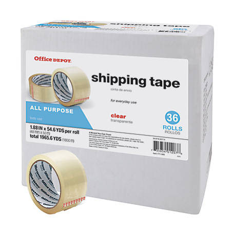 "Office Depot® Brand Shipping Tape, Multipurpose, 1.89"" x 54.6 Yd., Clear, Box of 36"