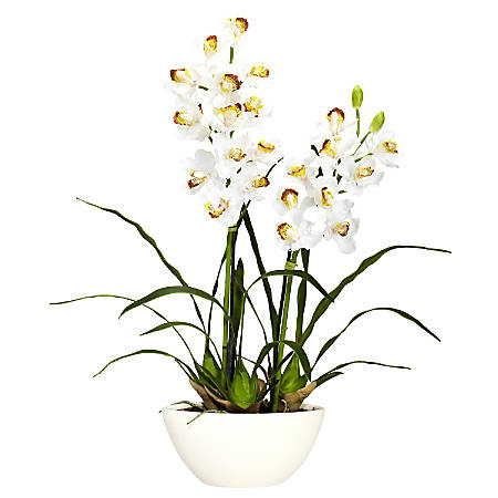 "Nearly Natural 30""H Silk Cymbidium Flower Arrangement With Vase"