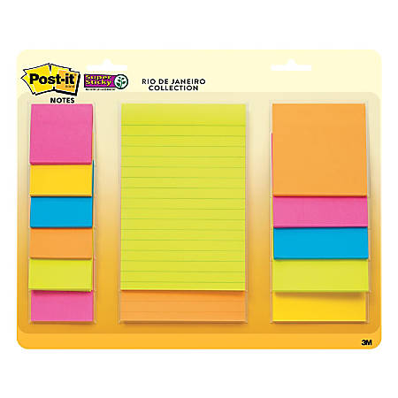 Post-it® Super Sticky Notes, Assorted Sizes, Rio de Janeiro, Pack Of 13 Pads