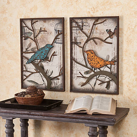 "Southern Enterprises Bird Wall Panels, 24""H x 16""W x 1 1/2""D, Turquoise/Yellow Orange, Set Of 2"