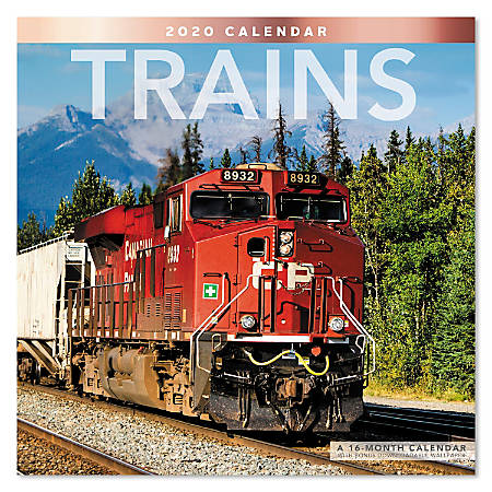 """Mead® Trains Monthly Wall Calendar, 12"""" x 12"""", January To December 2020, ODE33110"""