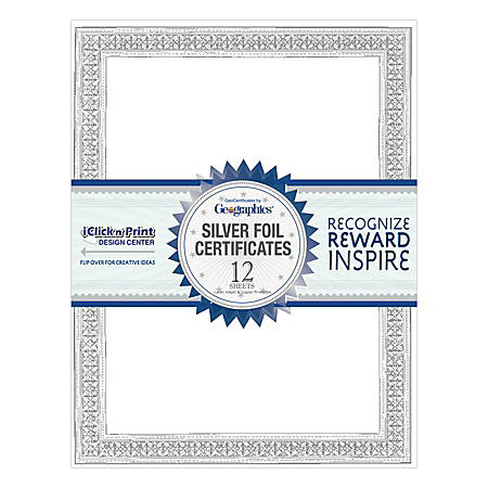 """Geographics® 30% Recycled Blank Parchment Certificates, 8 1/2"""" x 11"""", Silver Flourish Foil, Pack Of 12"""