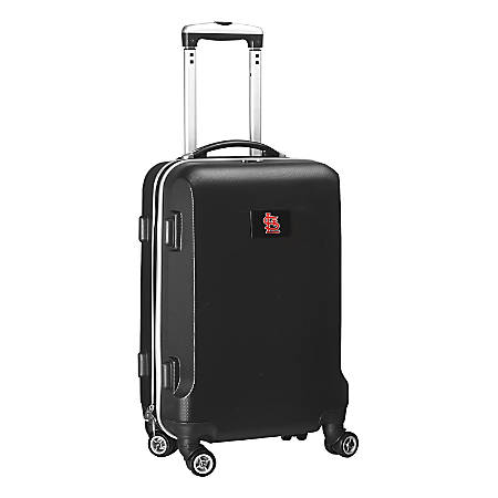 """Denco 2-In-1 Hard Case Rolling Carry-On Luggage, 21""""H x 13""""W x 9""""D, St. Louis Cardinals, Black"""