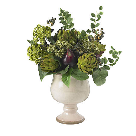 "Nearly Natural 15""H Silk Artichoke And Hydrangea Arrangement With Ceramic Vase"
