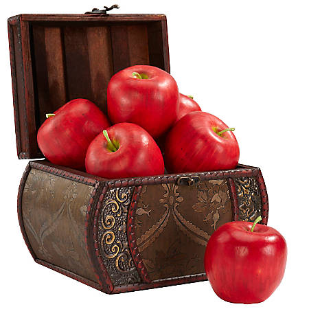 """Nearly Natural Faux Apples, 3 1/2""""H, Red, Set Of 6"""