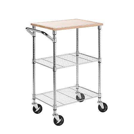 "Honey-Can-Do 2-Shelf Kitchen Cart With Cutting Board, 37 1/2""H x 28 1/2""W x 17 3/4""D, Chrome/Wood"