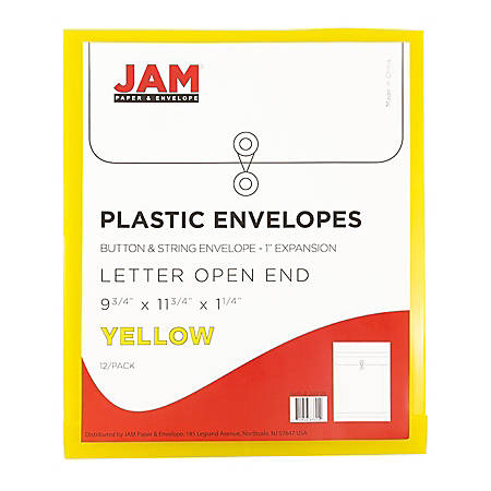 """JAM Paper® Open-End Plastic Envelopes, Letter-Size, 9 3/4"""" x 11 3/4"""", Yellow, Pack Of 12"""